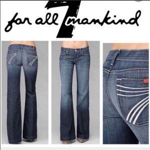 7 FAM Dojo Flip Flop Flare Leg White Stitch Jeans